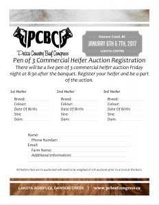 Heifer Auction Entry